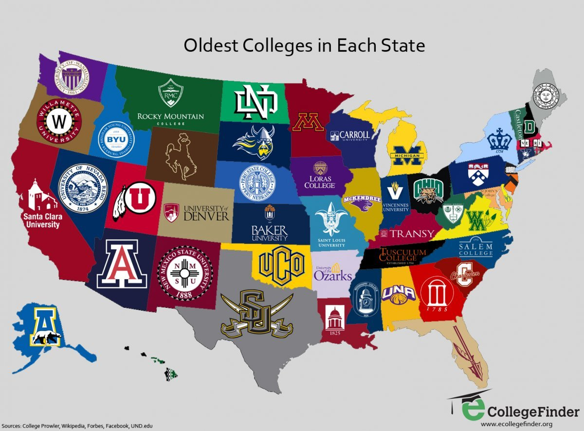 Map the oldest college in every state yahoo finance for Which state is good to live in usa