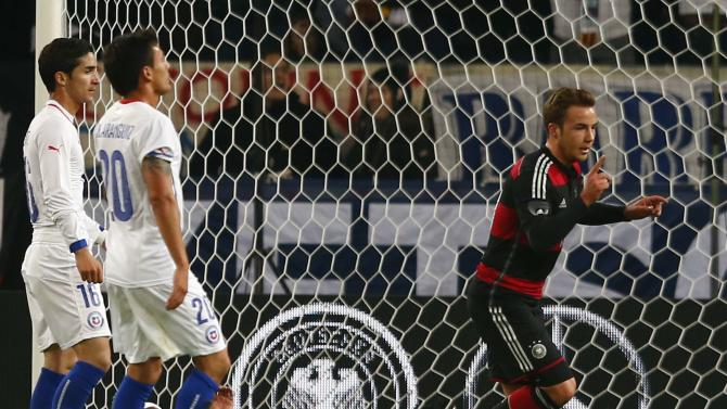 Germany's Goetze scores against Chile during their international friendly soccer match in Stuttgart