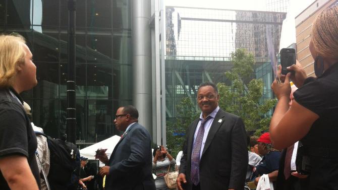 Jesse Jackson enters the Democratic National Convention arena on Thursday Sept. 6, 2012. (Jennie Josephson/Yahoo! News)