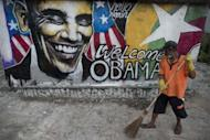A graffiti portrait of US president Barack Obama with the words 'Welcome Obama.' pictured in Yangon on November 17. Obama will endow Myanmar's startling reform drive with his newly replenished political prestige on Monday, as he makes history in a short, but hugely symbolic, visit to the country