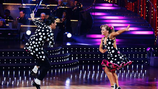 """Shawn Johnson and Mark Ballas perform the Jive to """"Reet Petite"""" by Jackie Wilson on """"Dancing with the Stars."""""""