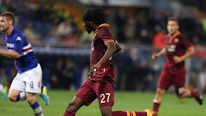 AS Roma forward Kouassi Gervais Yao Gervinho, of Ivory Coast, is about to score during a Serie A soccer match between Sampdoria and AS Roma, in Genoa, Italy, Wednesday, Sep. 25, 2013