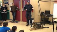 Rocky the RNC police dog makes his last official visit on the job to Topsail Elementary School on Friday.