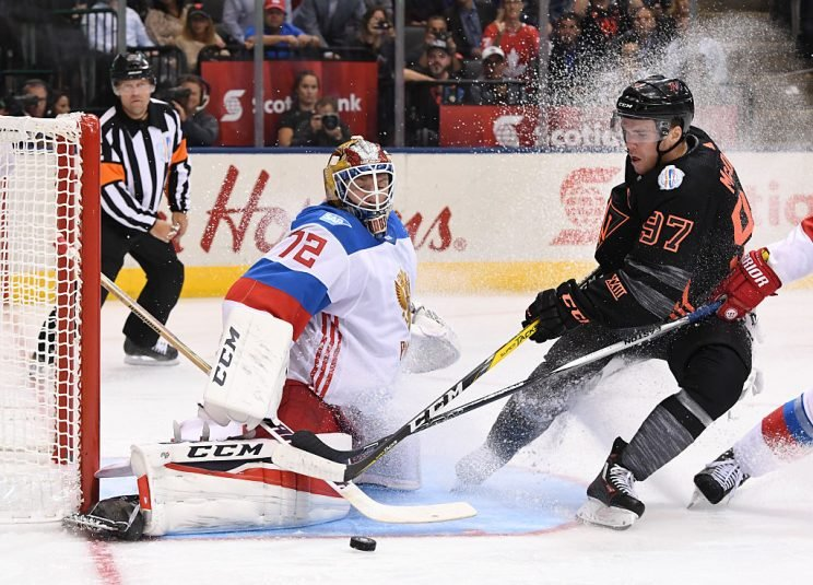 TORONTO, ON - SEPTEMBER 19: Connor McDavid #97 of Team North America tries to get the puck past Sergei Bobrovsky #72 of Team Russia during the World Cup of Hockey 2016 at Air Canada Centre on September 19, 2016 in Toronto, Ontario, Canada. (Photo by Minas Panagiotakis/World Cup of Hockey via Getty Images)