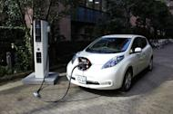 A Nissan Leaf on charge