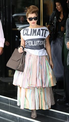 Lady Gaga is seen leaving her hotel in London on September 17, 2012 -- Getty Premium