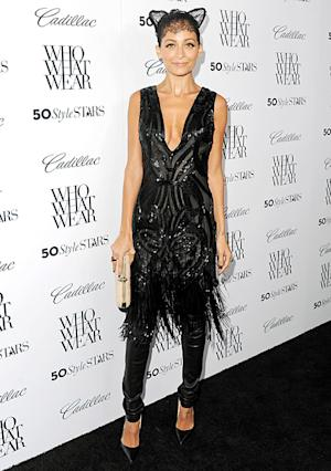Nicole Richie Wears Lace Cat Ears, Flaunts Cleavage in Plunging Dress