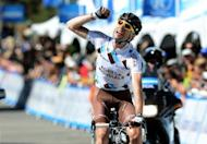 France's Sylvain Georges of team AG2R La Mondiale celebrates winning the 6th stage (from Palmdale to Big Bear Lake) during the AMGEN Tour of California, on May 18. Georges won ahead of second placed Peter Sagan and third placed Peter Velits, both of Slovakia