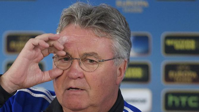 In this Wednesday March 6, 2013 file photo, Anzhi's head coach Guus Hiddink speaks during a news conference, at Luzhniki stadium in Moscow, Russia. Guus Hiddink will take over as Netherlands coach after the World Cup, when Louis van Gaal is stepping down, the country's football association announced on Friday March 28, 2014