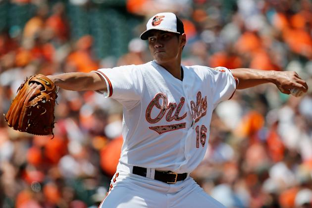 Starting pitcher Wei-Yin Chen of the Baltimore Orioles throws to a Houston Astros batter in the first inning, at Oriole Park at Camden Yards, in Baltimore, Maryland, on May 25, 2015