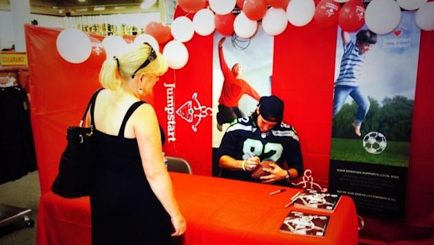 Seattle Seahawks tight end Luke Willson was back in the area, meeting with fans on the weekend.