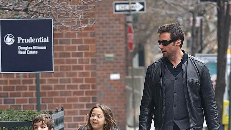 Hugh Jackman Walking Dog