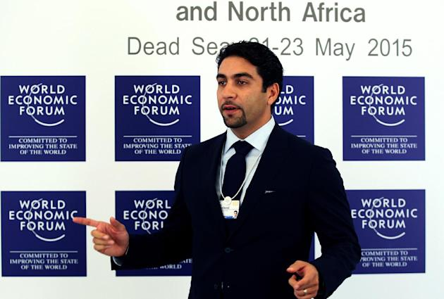 Fahd al-Rasheed, the Group CEO of Emaar Economic City (EEC), speaks during the World Economic Forum at the King Hussein convention center, Southern Shuneh, Jordan, Friday, May 22, 2015. A $100 billion