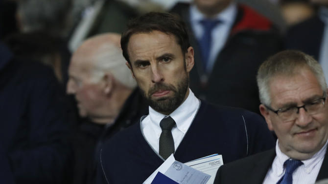 England interim manager Gareth Southgate in the stands before the match