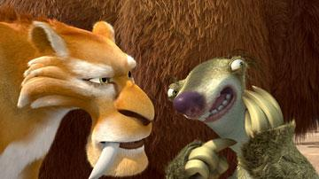 Diego (voiced by Denis Leary ) and Sid (voiced by John Leguizamo ) in 20th Century Fox's Ice Age: The Meltdown