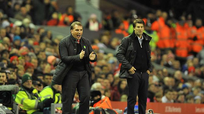 Brendan Rodgers, left, felt Swansea deserved to beat his Liverpool side in the Capital One Cup