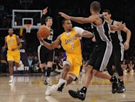 LA Lakers' Ramon Sessions (C) during the game against the San Antonio Spurs on April 17. Six days after the Lakers routed the Spurs 98-84 in San Antonio, the Spurs inflicted the most lopsided home defeat upon the Lakers since March of 2007, when the Dallas Mavericks ripped Los Angeles 108-72