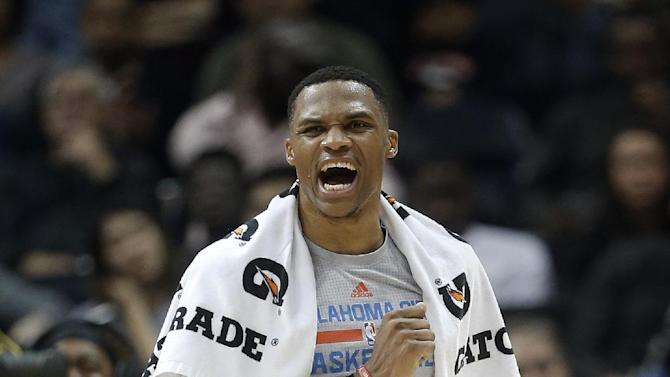 Oklahoma City Thunder guard Russell Westbrook (0) reacts during a timeout in the second half of an NBA basketball game against the Atlanta Hawks Monday, Dec. 5, 2016, in Atlanta. Oklahoma City won 102-99. (AP Photo/John Bazemore)