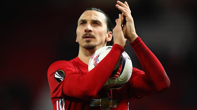 Zlatan Ibrahimovic was praised by manager Jose Mourinho after his first Manchester United hat-trick.