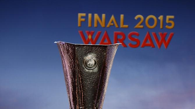 The Europa League trophy is pictured during a ceremony in Warsaw