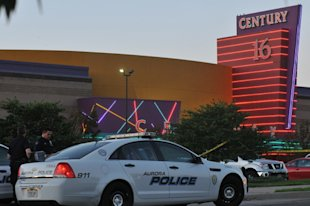 The Colorado movie theater where a gunmen attacked movie goers during a screening of the new Batman movie. (Photo by Thomas Cooper/Getty Images)