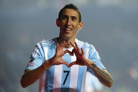 Argentina's Angel Di Maria celebrates after scoring a goal against Paraguay during their Copa America 2015 semi-final soccer match at Estadio Municipal Alcaldesa Ester Roa Rebolledo in Concepcion