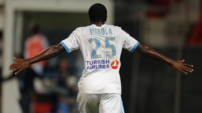 Olympique Marseille's Imbula reacts after scoring against Saint Etienne during French Ligue 1 soccer match in Marseille