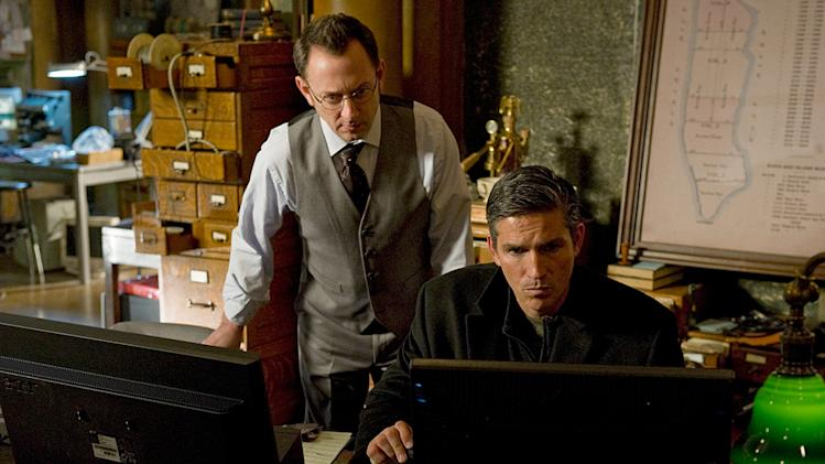 "Michael Emerson and Jim Caviezel in ""Person of Interest."""