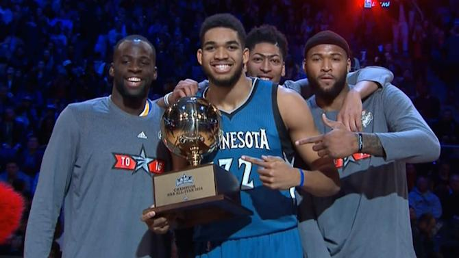 Karl-Anthony Towns wins skills competition, big men share group hug