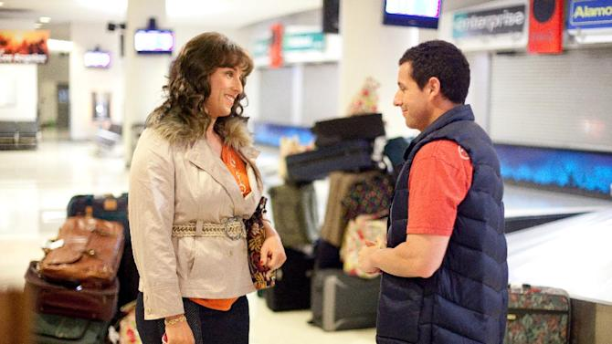 "In this image released by Sony Pictures, Adam Sandler portrays both Jill, left, and Jack in a scene from ""Jack & Jill."" Sandler shattered the record for most nominations ever at the Razzies, an Academy Awards spoof that singling out the worst movies of the year. His 11 nominations Saturday included worst actor for both ""Jack and Jill"" and ""Just Go with It"" _ along with worst actress for ""Jack and Jill,"" in which he plays a family man and his own twin sister. (AP Photo/Sony - Columbia Pictures, Tracy Bennett)"