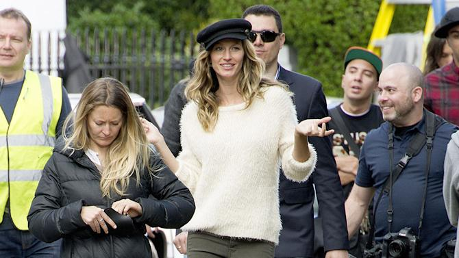 Supermodel Gisele Bundchen on a H&M Shoot in Chelsea today