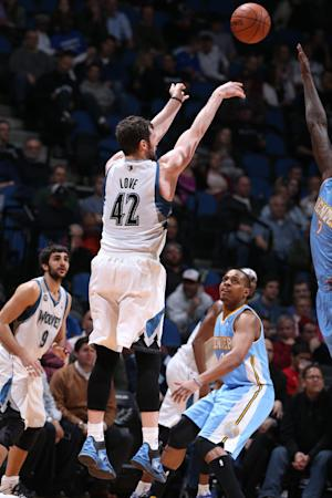 Love leads Wolves past depleted Nuggets 117-90