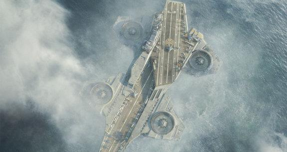 The Helicarrier from the Avengers film flies out of the water using what appear to be ducted rotors.
