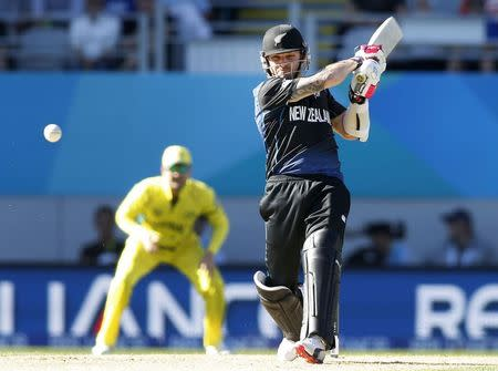 New Zealand's Brendon McCullum hits a four against Australia in their Cricket World Cup match in Auckland
