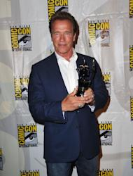 Arnold Schwarzenegger arrives at 'The Expendables 2 Real American Heroes' Panel during Comic-Con 2012 on July 12, 2012 -- Getty Images