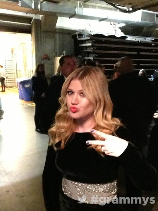 Backstage at the Grammys 2013: Kelly Clarkson had a great night – she not only performed, but she scooped an award too. Copyright [The Grammys]