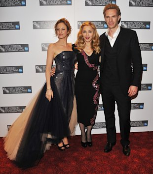 James D'Arcy (R-L) Film-maker Madonna and Actress Andrea Riseborough attend the screening of 'W.E.' at The 55th BFI London Film Festival at Empire Leicester Square