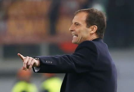 Juventus' coach Allegri gestures during their Italian Serie A soccer match against AS Roma at the Olympic stadium in Rome
