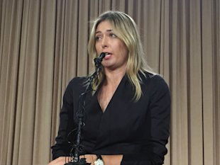 Maria Sharapova speaks at a news conference in Los Angeles. (AP)