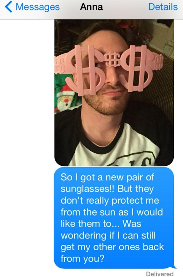Man sends 40 text messages over year in hopes of getting sunglasses back.