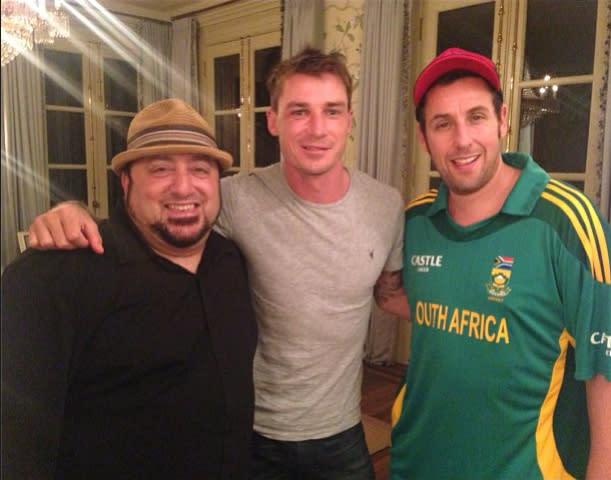 Adam Sandler (far right) with Dale Steyn (centre) on the sets of The Familymoon. Photo via https://ec.yimg.com/ec?url=http%3a%2f%2finstagram.com%2fdalesteyn&t=1425438734&sig=6ly.nGRoADACO_IEqpwjFw--~B