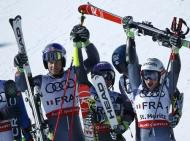 Alpine Skiing - FIS Alpine Skiing World Championships - Alpine Team Event - St. Moritz, Switzerland - 14/2/17 - (L to R) France's Alexis Pinturault, Tessa Worley, Mathieu Faivre and Adeline Baud Mugnier celebrate winning gold after the final of the parallel slalom Mixed Team event. REUTERS/Denis Balibouse