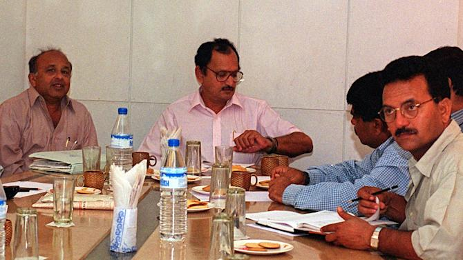 Jaywant Lele (L), secretary of the Board of Cricke