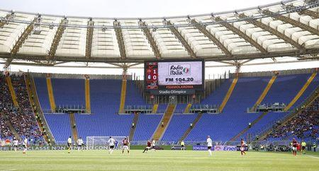 Empty AS Roma supporters sector in the tribune is seen during their Serie A soccer match against Atalanta at the Olympic stadium in Rome