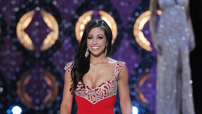 Jessica Pray, Miss Iowa, competes as one of the top 10 in the evening gown competition during the The 2012 Miss America Pageant at the Planet Hollywood Resort & Casino on January 14, 2012 in Las Vegas, Nevada.