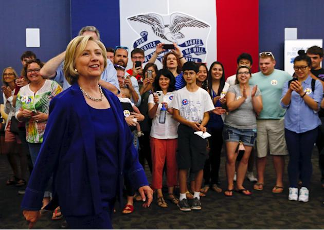 U.S. Democratic presidential candidate Hillary Clinton arrives to speak to the media after a campaign event in Iowa City