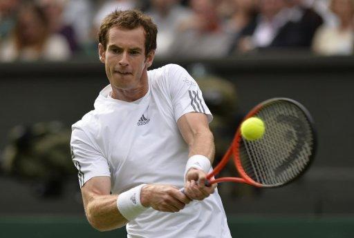 Andy Murray during his Wimbledon match against Benjamin Becker in London on June 24, 2013