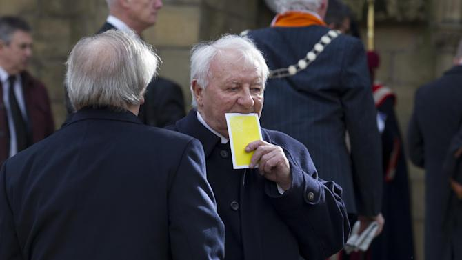Former Manchester United manager and Preston North End player Tommy Docherty is seen before a funeral service for the late Sir Tom Finney at Preston Minster, Preston, England, Thursday Feb. 27, 2014. The 91-year-old former England and Preston North End winger died on  February 14 and was famous for his loyalty to his league club, Preston North End for whom he made 569 first-class appearances and for his performances in the English national side. AP Photo/Jon Super)