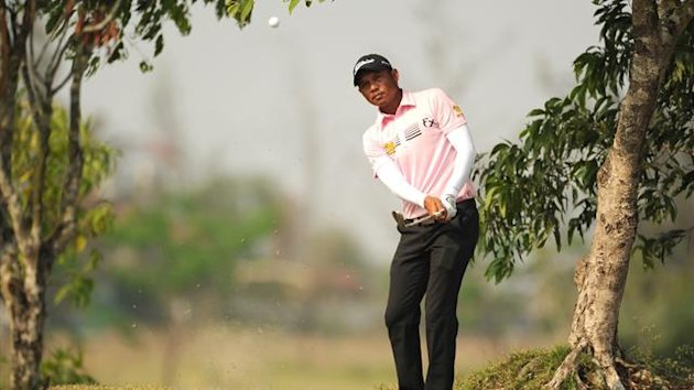 Chawalit Plaphol of Thailand in action during the third round of the 300,000 USD Zaykabar Myanmar Open at the Royal Mingalardon Golf and Country Club in Yangon
