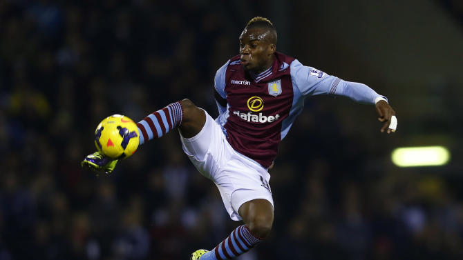 Aston Villa's Yacouba Sylla controls the ball during their English Premier League soccer match against West Bromwich Albion at The Hawthorns in West Bromwich